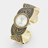 Embossed metal cuff watch