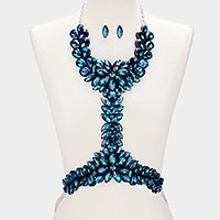 Felt & faux leather back crystal rhinestone body chain necklace
