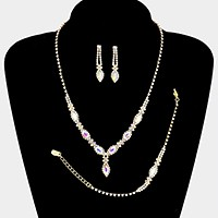 3-PCS Crystal rhinestone marquise necklace jewelry set