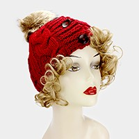 Triple button cable knit pom pom beanie hat