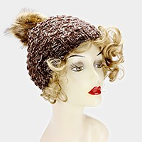 Pom pom two tone tweed knit beanie hat