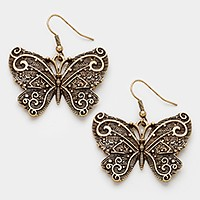 Antique metal butterfly earrings