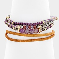 4 PCS - 3 Glass bead & natural stone stretch bracelets + leather bracelet