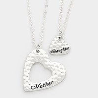 2 PCS - Mother & daughter heart pendant necklaces