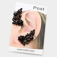 Floral crystal rhinestone ear cuff earrings