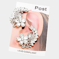 Crystal rhinestone flower ear cuff earrings