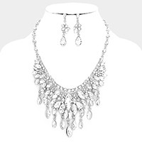 Glass crystal marquise fringe necklace