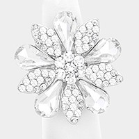 Crystal rhinestone flower stretch ring