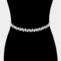 Crystal rhinestone pearl sash ribbon bridal wedding belt