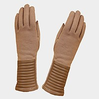 Fleece lined ribbed faux leather smart gloves