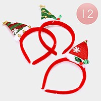 12 PCS - Christmas tree headbands
