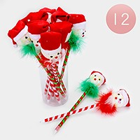 12 PCS - Christmas Santa Claus hat ball point pens