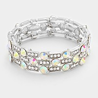 Glass crystal bubble rhinestone stretch bracelet