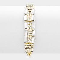 Rectangle crystal rhinestone embellished evening bracelet