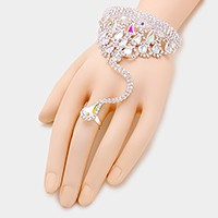 Crystal rhinestone net evening hand chain bracelet