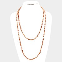 Long semi precious stone bead strand necklace