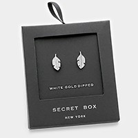 White gold dipped crystal leaf stud earrings with secret box
