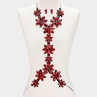 Felt & faux leather back crystal rhinestone flowers body chain necklace