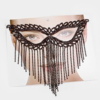 Crystal rhinestone cat eye fringe mask