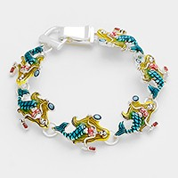 Lacquered mermaid link magnetic bracelet