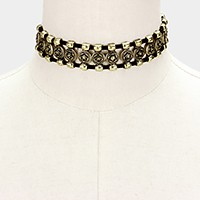 Antique metal flower disc choker necklace