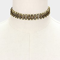 Rhinestone & metal faux suede choker necklace