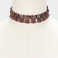 Metal beads drop faux suede choker necklace