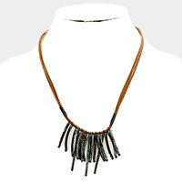 Metal fringe bars necklace