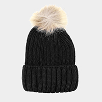 Soft Cable Knit Genuine Fox Fur Pom Pom Beanie Hat