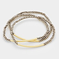 3 PCS - Curved metal tubes & stretch bead strand stack bracelets