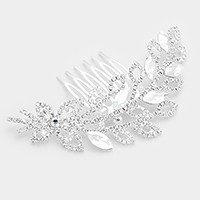 Rhinestone & glass crystal leaf hair comb