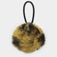 Leopard pattern _ Furry pom pom ponytail hair band