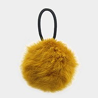 Furry pom pom ponytail hair band