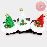 12 PCS - Christmas Santa Claus hat hair pinch clips
