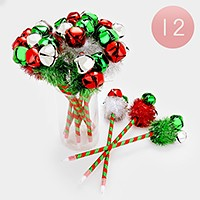 12 PCS - Christmas jingle bell ball point pens