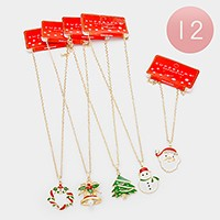 12 PCS - Christmas pendant necklaces
