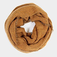 Tweed infinity scarf with frayed edge