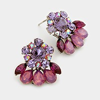 Glass crystal statement rosette evening earrings