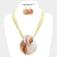 Celluloid ornate multi-tier cord necklace