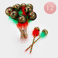 12 PCS - Christmas sequin ornament ball point pens