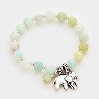 Elephant & clover charm beaded stretch bracelet