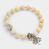 Tree of life & leaf charm beaded stretch bracelet