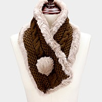 Faux fur lined knit pull through scarf with pom pom