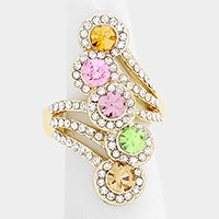 Glass crystal rosette cluster stretch ring