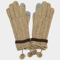 Color block wool smart gloves with mini pom pom string