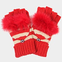 Button detail stripe fingerless wool gloves with fur