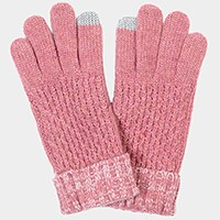 Two tone knit fold over smart gloves