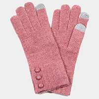 Triple button detail color block knit smart gloves
