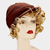 Ribbed Knit Fold Over Visor Hat