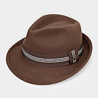 Striped Ribbon Wool Fedora